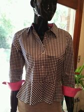 Ralph Lauren Peplum blouse in black/white check with pink accents.