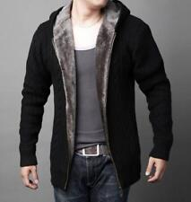 S-5XL Mens Cashmere Blend Solid Color Cardigan Padded Plush Knitted Sweater C369
