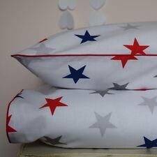 cotton Single bedding  Duvet Cover Set Boys Girls navy red grey Stars reversible