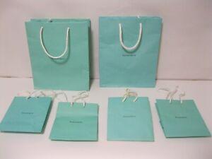 "Authentic Tiffany & Co Blue Paper Gift Bag 4-(6"" x 5"" x 3"")2-(10"" X 8"" X 4"")"