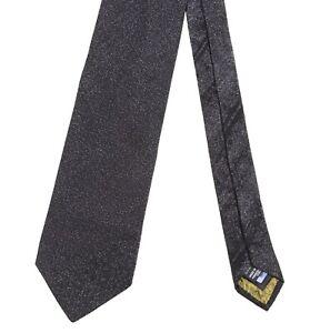 Roberto Cavalli Made in ITALY Black GLITTER Textured Woven Satin Silk Tie