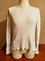 EILEEN FISHER women's top sweater size XS white long sleeves cotton linen blend