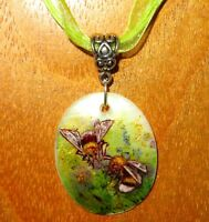Bumblebees Pendant Gold Bumblebee Genuine hand painted White Lip SHELL signed