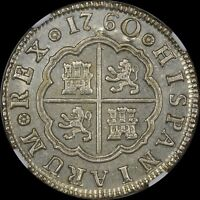 """""""FINEST KNOWN"""" @ PCGS & NGC MS64 1760 M-JP SPAIN 2 REALE PISTAREEN UBER-LUSTRE"""