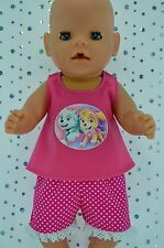"""Play n Wear Doll Clothes To Fit 17"""" Baby Born POLKA DOT PANTS~HOT PINK TOP"""