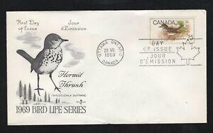 Canada 1969 25c Bird (Thrush)  #498 FDC Rosecraft  cachet unaddressed