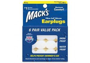 Macks Pillow Soft Silicone Earplugs x 6 Pairs