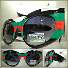 CLASSIC VINTAGE RETRO Cat Eye Style SUN GLASSES Red Black & Green Thick Frame