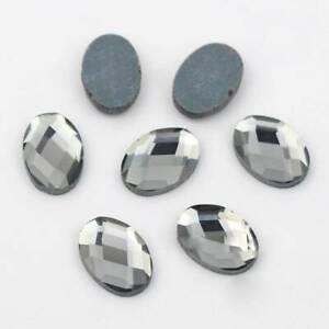 Oval Flatback Crystal Glass Cabochons Faceted Rhinestones 6x8/8x10/10x14/13x18mm