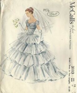 """1954 Vintage Sewing Pattern WEDDING BRIDE'S DRESS B30"""" (1549) By Mccall's 3113"""