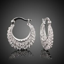Elegant Womens 925 Sterling Solid Silver filigree crescent Shaped Earrings
