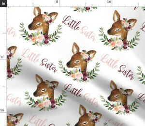 Pink Floral Watercolor Floral Floral Deer Little Spoonflower Fabric by the Yard