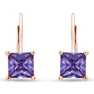 4 Ct Square Princess Amethyst 14K Rose Gold Over Lever Back Stud Earrings
