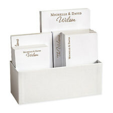 PERSONALIZED STATIONERY COUPLES 7 TABLET SET w/ LINEN HOLDER 4 TABLET SIZES