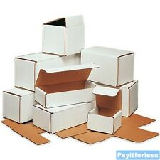 """4"""" x 4"""" x 3""""  White Lightweight Light Corrugated Mailer Mailing Boxes 50 Pc"""