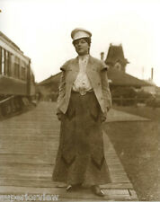 Vintage Railroad Pullman Girl Woman In Railroad Hat & Jacket Pullman Car GREAT