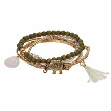 Mudd Elephant & Tassel Stretch Bracelet 5-Piece Set Gold-Tone & Olive New $22