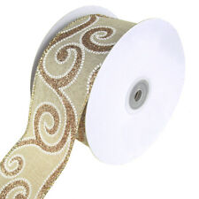Linen Glitter Scroll Stitch Wired Christmas Holiday Ribbon, 2-1/2-Inch, 10 Yards