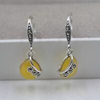 Solid 925 Sterling Silver Dangle Earrings Pear Yellow Chalcedony Earrings 27mm H