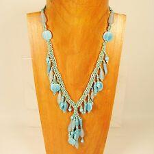 """18"""" Classic Vintage Short Tassel Aqua Blue Handmade Seed Bead Necklace"""