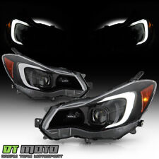 2012-2015 Subaru Impreza 13-16 Crosstrek Black Led Tube Projector Headlights Set (Fits: Subaru)