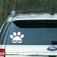 White Personalized paw print Vinyl Decal sticker for Car, laptop, for cat or dog