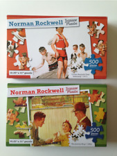 Two Norman Rockwell Jigsaw Puzzle s 500 Pieces Cousin Reginald Goes Swimming