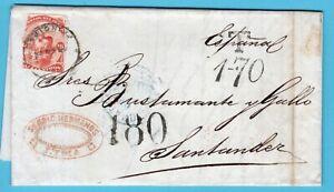 PERU entire 1876 Lima to Santander Spain