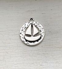 8Pcs Antique Silver Round Detailed Sailing Boat Charm/Pendant 20x17mm