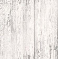 Wood Effect Wallpaper Distressed Wooden Grain Loft Wood White Metallic Silver