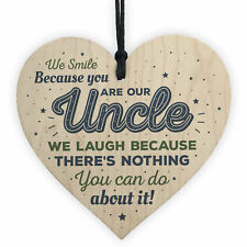 Novelty Uncle Gift Funny Wooden Heart Birthday Christmas Sign Present Brother