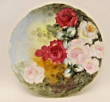 """Antique 14"""" Charles Martin Limoges HP Antique Roses Charger Plate 1909 Signed"""