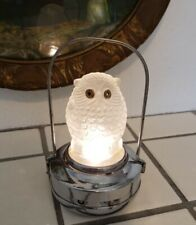 Rare Vintage 1930's Art Deco Glass Halloween Chrome Owl Night Light