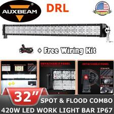 "AUXBEAM 32"" inch 420W CREE DRL LED Light Bar Spot Flood Offroad Driving 4WD ATV"
