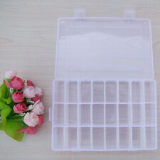 White 24 Slots Transparent Storage Box Adjustable Plastic Case Knitting Tools