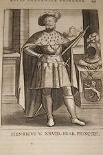 GRAVURE BELGIQUE HENRICUS V  BRABANT VEEN COLLAERT 1623 OLD PRINT R993