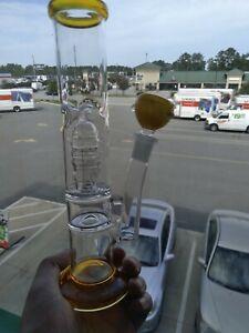 "9"" Bong Glass Hookah Tobacco Pipe Perc 14mm"