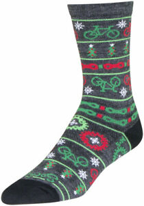 SockGuy Wool Ride Merry Crew Socks - 6 inch, Gray/Red/Green, Large/X-Large