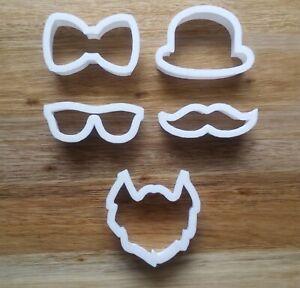 Gentlemen's Cookie Cutter Biscuit Dough Fondant Moustache Bow Tie Beard Glasses