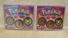 LOT 2 sealed POKEMON battling coin game by Hasbro 1995 Nitendo Pikachu sticker