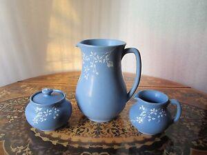 Antique Arts & Crafts Denver White Pottery Colorado Cameo Decorated Pitcher Set