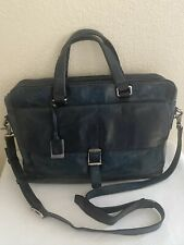 Frye Oliver 2 Handle Dark Teal Leather Messenger Briefcase Convertible XBody Bag