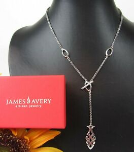 James Avery * RETIRED * Sterling Silver 925 Ichthus Toggle Necklace Spiga Chain