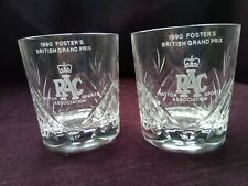 More details for 1990 british grand prix whiskey glasses rowton crystal rac  gift boxed f1