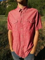 WOOLRICH Mens Red Chambray Short Sleeve Casual Button Up 100% Cotton Shirt Large