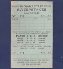 UNUSED 1947 INDIANAPOLIS 500 MILE SWEEPSTAKES TICKET (TRI-CLUB ANNUAL PICNIC)