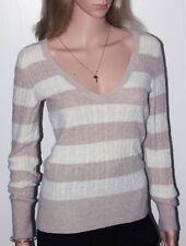Damen Pullover beige gestreift warm weich sexy Gr.S