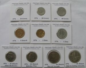 1976, Polish People`s Republic, a set of circulation coins (3 Mints)