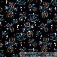 BonEful Fabric FQ Cotton Quilt Cross Religious God Jesus Christian Catholic Word