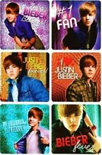 6 x Square Stickers ~ Justin Bieber 1 Fan Fever Believer I Love Teen Sparkle ~